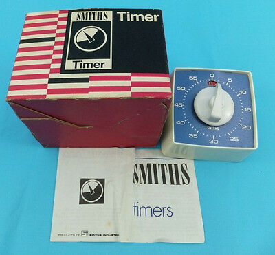 SMITHS 60 Minute Timer Model No. QLR 900 Blue- Superb and Boxed - 1970's Retro