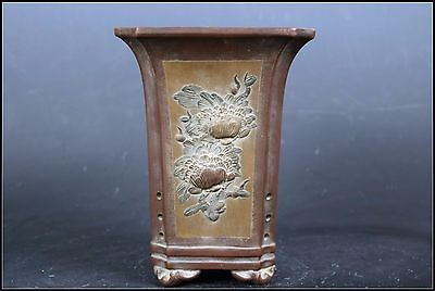 Beautiful Chinese Pottery Carved Flowers Pot