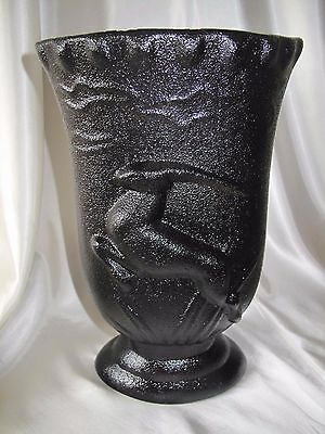 Art Deco Styled Black Vase Hand Made By Raynham Pottery