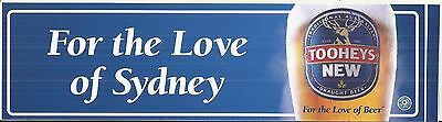 Vintage For The Love Of Sydney Tooheys New Beer Advertising Sticker