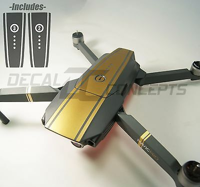 DJI Mavic Gold Racing Stripes Graphic Wrap kit - Battery Decal Skin Sticker Pro