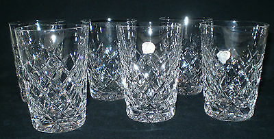 Unused Set Of 6 Polonia Lead Cut Crystal Made In Poland Tumblers/whiskey Glasses