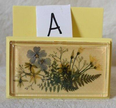 Set #A Vintage yellow Plastic Napkin Holder with PRESSED FLOWER Picture
