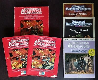 Dungeons & Dragons REGOLE BASE SET1 + CHARACTER RECORD SHEETS e DM SCREEN