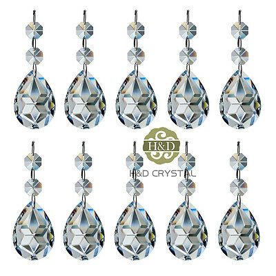 10 Clear Crystal Faceted Prism with Octagon Beads Glass Chandelier Drop Pendants
