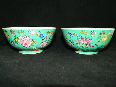 Two antique Republic period Chinese hand painted famille rose porcelain bowls