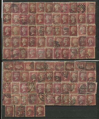 PENNY RED Plates 100 stamps FINE USED COLLECTION...cv £350+...Lot 2