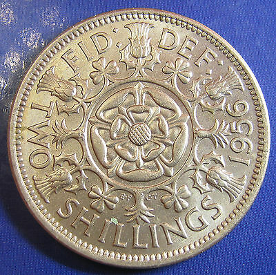 1956 2/- Elizabeth II Florin - lustrous UNC - hard to find this good