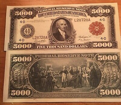 Reproduction Money 1914 Fed Res Red Seal $5000 Fantasy US Currency Copy Note