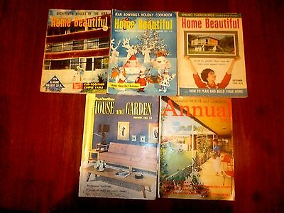VINTAGE 5 MAGAZINES HOME BEAUTIFUL & HOUSE and GARDEN 1954-1967