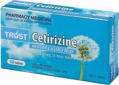 2 x SAME AS ZYRTEC-CETIRIZINE 10MG (TWIN PACK 100 TABLETS TOTAL) AUSTRALIAN MADE