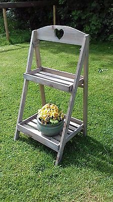 Grey rustic shabby chic wood plant stand shop display garden shelf wedding party