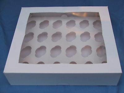5x MINI Cup cake box WHITE clear lid- 24 MINI cup cakes