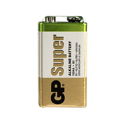 1 x GP SUPER ALKALINE 9V PP3 BATTERY PP3 MN1604 6LR61 BLOCK 6LF22