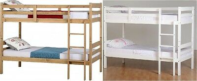 Panama 3Ft Bunk Bed Frame In Natural Wax Pine Or White Splits In 2 Single Beds