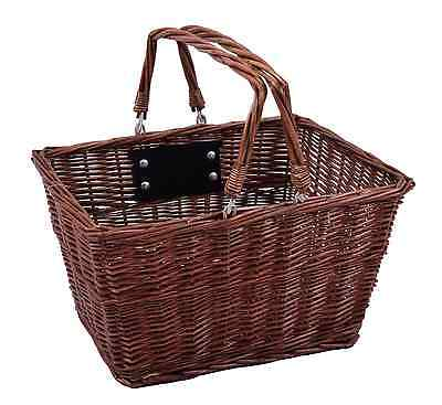 Square Front Wicker Bike Shopping Basket Carry Handle Quick Release Bracket