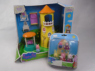 Peppa Pig Princess Peppa's Rose Garden and Tower New In Damaged Box & Figures