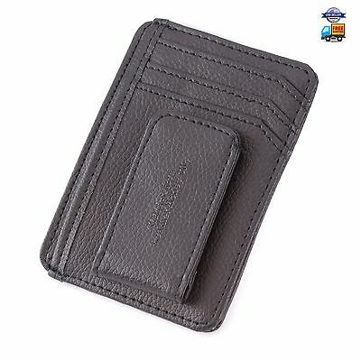 Leather Clip Money Wallet Card Mens Slim Id Front Pocket Holder Credit Genuine