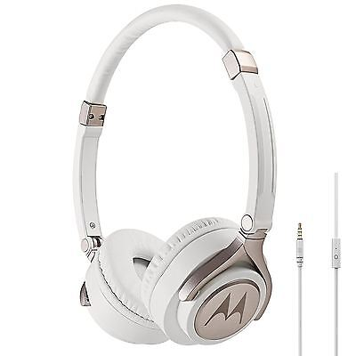 Motorola Pulse 2 Ultra Lightweight On-Ear Wired Headphones with Microphone White