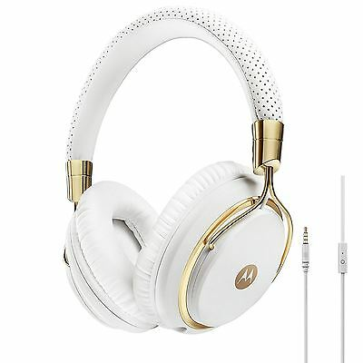Motorola Pulse M Series Premium Designer Over-Ear Wired Headphones, White & Gold