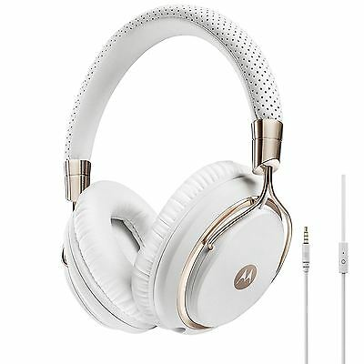 Motorola Pulse M Series Premium Designer Over-Ear Headphones - White & Rose Gold