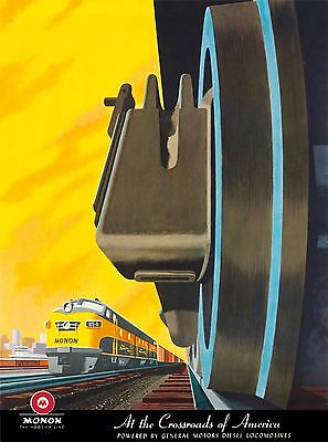 Monon Hoosier Line Chicago Illinois U.S.Vintage Travel Advertisement Poster
