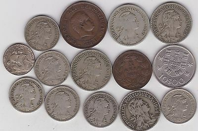 14 Coins From Portugal Dated 1883 To 1973 In Fine Or Better Condition