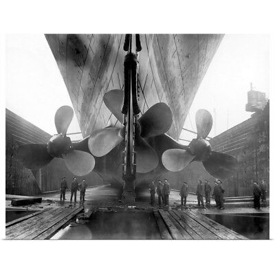 Poster Print Wall Art entitled The RMS Titanic's propellers as the mighty ship