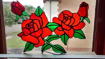 Red Roses in Bloom. Stained Glass Suncatcher with chain.
