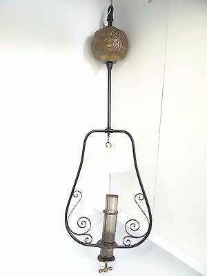 Milk Glass Shade Hanging Brass Vapor Gasoline Lamp MFG Best Light USA Lighting