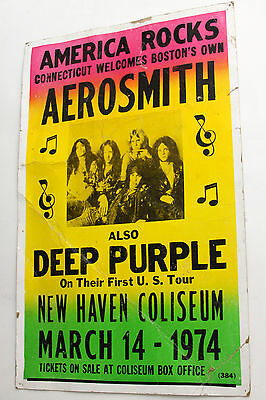 Vtg Original Poster Aerosmith Deep Purple March 14 1974 New Haven America Rock