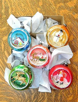 Vintage Glass Japan Indent Diorama Christmas Tree Ornaments Scenes Sparkle