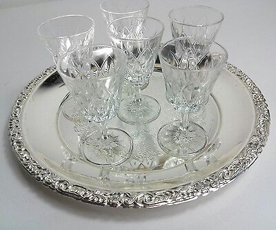 vintage silver plated Serving TRAY with 6 sherry glasses