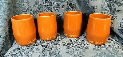 Set of 4 LANCERS Wine Mugs Cups Vintage 1960s - 1970s Redware, Secla Portugal