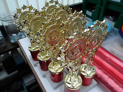 Joblot Of 8 - Star  -  Trophies In Red/gold   - Free Engraved Plates