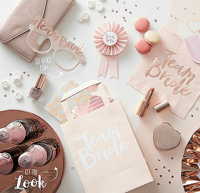 TEAM BRIDE HEN PARTY Rose Gold Vintage Bride to Be Accessories Party Favours Wow