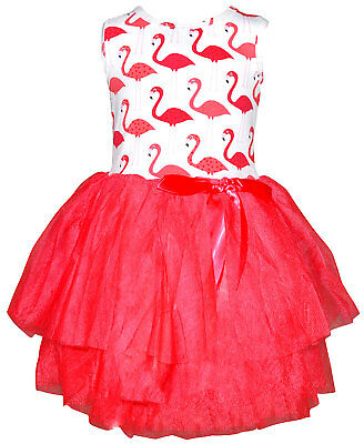 Girls Summer Flamingo Dress with Tutu