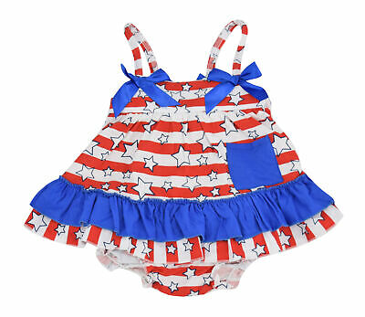 US Fourth of July Girls Shorts Shirt 2pc Outfit 4th America 2t 3t 4t 5 6 7 8 Bow