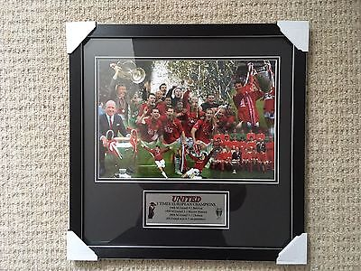 Manchester Utd 3 Times European Champs Framed Photo With Plaque Bnwt