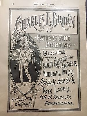 19th Century Magazine Ad HATTERS FINE PRINTING The Hat Review from 1896