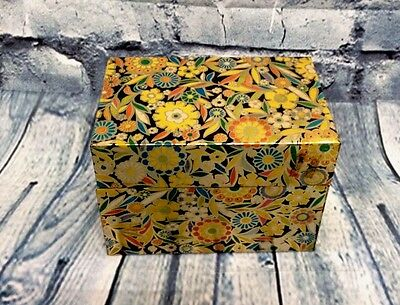 Vintage Metal Recipe Box J Chein Co Made in USA Art Deco Floral Retro Kitchen