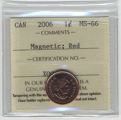 2006 Canada 1 Cent (Penny) No P, No Logo Iccs Ms-66 Magnetic Red
