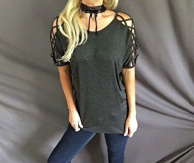 Eyelet Detail Front Open Criss Cross Caged Short Sleeve Stretch Tee T-Shirt Top