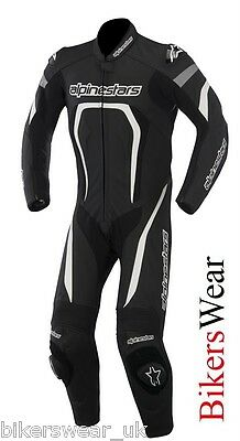 Alpinestars MOTEGI 1 One Piece Suit White/Black Leather Motorcycle clearence