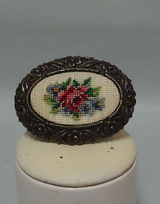Vintage Austrian Petit Point Brooch Viennese rose