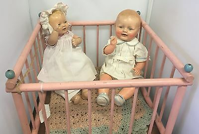 Antique 1924 Effanbee Bubbles Composition Doll & EIH Co. Doll 1940's Play Pen