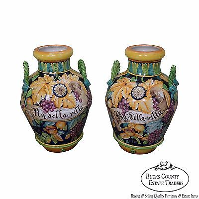 Large Pair of Italian Pottery Majolica Urns