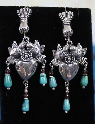 Sterling Silver Milagros Hands Doves & Hearts Earrings Turquoise Mexico Folk Art