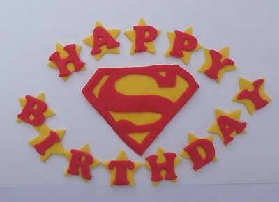 Handmade Edible Superman Cake Topper, Personalised Name & Age, birthday