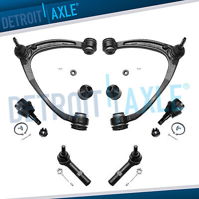 2 Upper Control Arm w/Ball Joint Kit + Lower Ball Joints & Outer Tie Rod Set